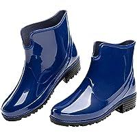 Bottes de Pluie Femme Caoutchouc Bottines Jardin Chelsea Boots Rain Boot Noir Bleu Kaki 35-42 EU