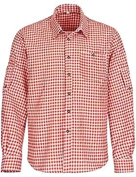 Trachtenhemd Für Trachten Lederhosen Freizeit Hemd Rot-Kariert Gr. S-XXXL - Trachtenhemd Herren