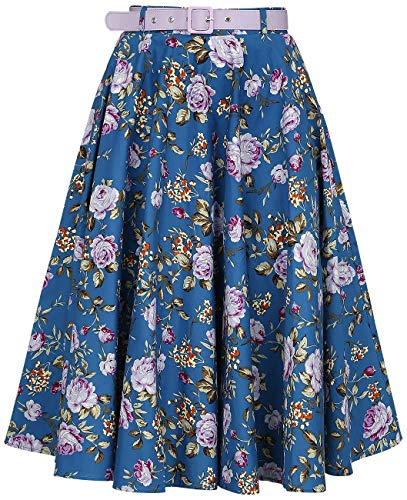Hell Bunny Violetta 50s Skirt Gonna al Ginocchio Blu