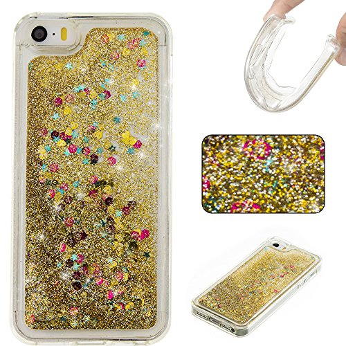 For APPLE IPHONE 5S/SE[CUTE SPARKLING]Novelty Creative Liquid Glitter Design Liquid Quicksand Bling Adorable Flowing Floating Moving Shine Glitter Case -SILVER SMILE GOLD