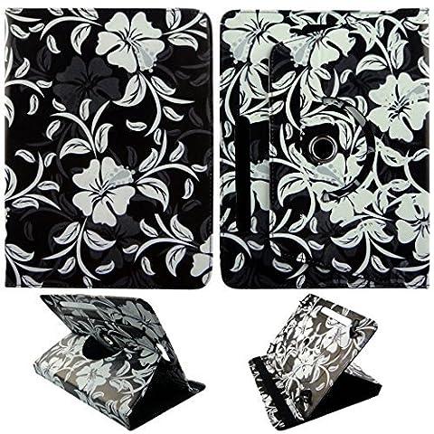 Weiß Blume (Bin) für Toshiba Encore 225,4cm 25,4cm Tablet Syn PU (Poly) Synthetik Leder Case Cover 360drehbar Folding Folio Stand Cover Case