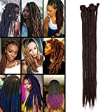 TESS 20' Braids Extensions Mittelbraun Kunsthaar Braiding Hair Crochet Synthetik Haar 5Pcs...