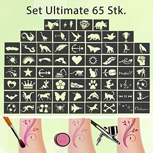 Tattoo Schablonen SET Ultimate (65 Stück) Selbstklebend Kinderschminken Airbrush -