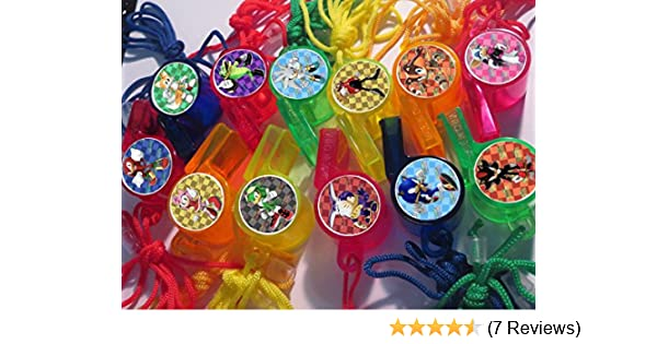 Kid Fun Sonic Hedgehog Whistles Necklaces 12PK Assorted Colors
