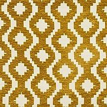 Ocre amarillo geométrico cortina de chenilla,. Y Craft tejidos con textura de tela por metro–140cm de ancho por McAlister textiles, De La 'Arizona' Diseño gama.