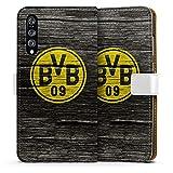 DeinDesign Huawei P20 Pro Tasche Leder Flip Case Hülle Borussia Dortmund BVB Holzoptik
