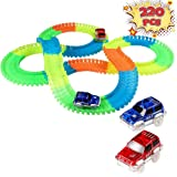 Innoo Tech 220 Piece Flexible Race Track & 2 Light Up Cars Playset - Racing Cars Construction Toy For Boys or Girls