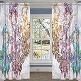 COOSUN Paons Ethniques Panneaux Voilage Tulle Polyester Fenêtre Panneau de Traitement Voile Rideaux pour Chambre Salon Décoration d'intérieur, 55x78 Pouces, 2 Panneaux Set 55x78x2 (en) Multi