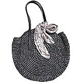 TININNA Frauen Stroh Strandtasche Sommer Vintage Rattan Runde Handtasche,Böhmische gewebte Tasche Geldbörse,Handgemachte Stro