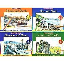 Juego de 4 adultos pintura y diseño de libros para colorear, diseño de campo de, ríos y montañas 3110