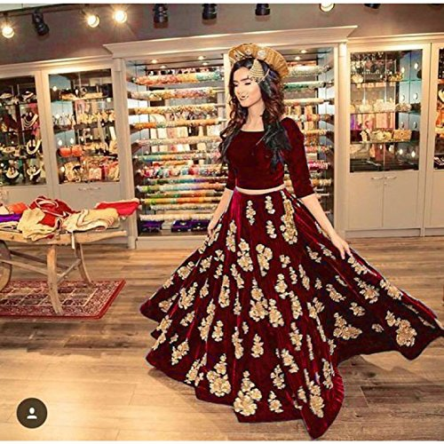 Vastra fashion Women's tafeta silk maroon color heavy embroidery lehenga choli