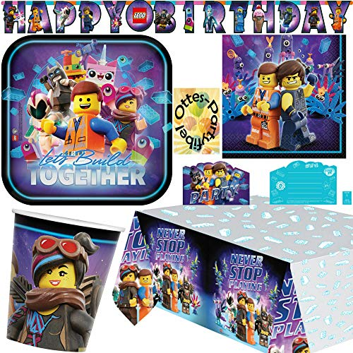 HHO Lego Movie-2 Lego-Party-Set Movie-Party-Set 42tlg. für 8 Gäste Teller Becher Servietten Tischdecke Einladung Girlande (Einladungen Geburtstags-party Lego)