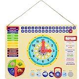ewtshop Lärande klocka i metall, färgglad inlärningstavla med datum, tid och årstider, färgglad