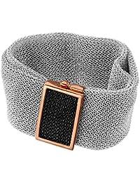 Adami e Martucci in argento placcato oro rosa mesh braccialetto largo b6fa6e6a5b09