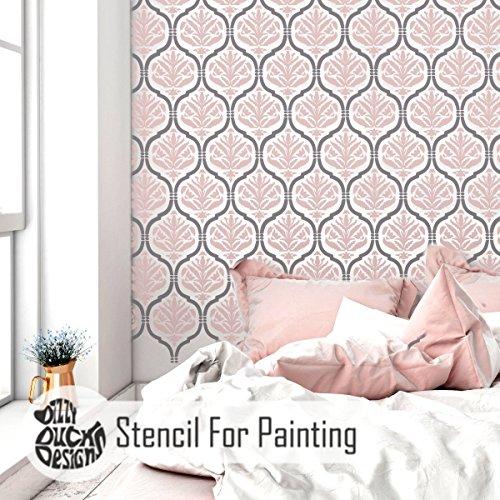 AST 2 Schichten Wand Möbel Fußboden Schablone für Malerei - Wand Klein (Kleine Damast-schablonen)