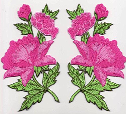 """Toppe toppa patch termoadesive fiore fiori termoadesivi termoadesiva applicazioni ricamate ricamato adesiva da cucire per stoffa jeans cucito"""" 2 pezzi kit 2 fiori a 14 x 8 cm al pezzo """""""