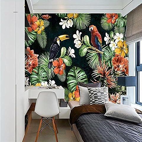 LWCX Parrot Tropischen Regenwald Foto 3D Wallpaper Stereoskopische Hintergrund Vogel Blatt Grosse Wandbild Tapeten Rollen 280X200CM