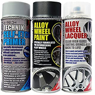 E-Tech Professional TECHNIK GUN METAL GREY Car Alloy Wheel Spray Paint & High Gloss Clear Lacquer & Self Etch Primer Spray Can Refurbishment Pack
