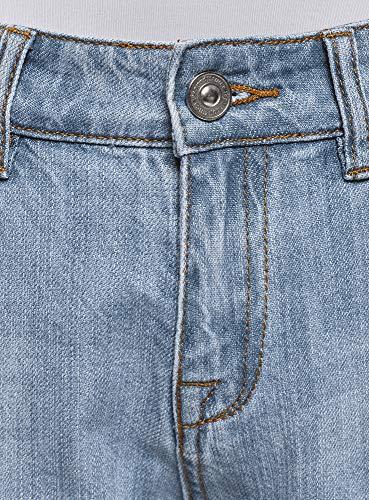 oodji Ultra Damen Boyfriend Jeans in Used-Optik, Blau, 26W / 32L (DE34 = EU36 = XS) -