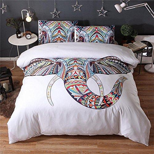 Bettwäsche bett set helle farben elefant muster Easy Care 100% Polyester Bettbezug 200 * 200 & 2 Kissenbezüge 50 * 70 bettdecke set (Doppel, schwarz und weiß) , White , 200*230cm