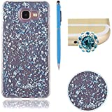 Bling Paillette Coque Pour Samsung Galaxy A3 2016 / A310, SKYXD Transparente Shine Bling Glitter Coque Ultra Slim Crystal Premium Housse Étui Soft Silicone TPU Bling Strass Protection Coque Pour Samsung Galaxy A3 2016 / A310-- Bleu Feuille D'or