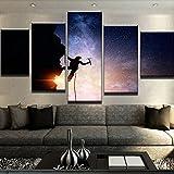 Moderner Wand Art Poster Leinwand HD gedruckte Malerei 5 Panel Klettern Partnerunternehmen Sternenhimmel Landschaft Bilder Home Decor, 40 x 60 40 x 80 40 x 100 cm, Rahmen