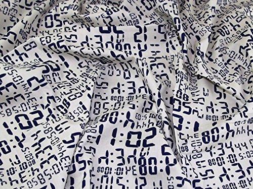 Digital Uhr Print Baumwolle Popeline Kleid Stoff Elfenbeinfarben &, Marineblau, Meterware