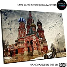 Calidad de imagen HD lienzo de enmarcado–en la pared–grande–100% garantizada–St Basil Catedral de Moscú–vida y dormitorio decoración del hogar con fácil colgar guía–SC164–woyw, lona, M - 75cm x 50cm