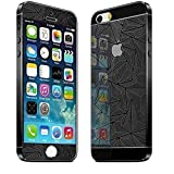 ECellStreet 3D Diamond Pattern Mirror Front + Back Tempered Glass Screen Protector for Apple Iphone 5 / 5S - Black