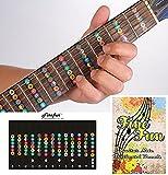 Finefun 100% vinile impermeabile e a prova di olio chitarra fretboard nota mappa decalcomanie tastiera tasti sticker per principianti Allievo pratica Fit 6corde acustica chitarra elettrica (nero)