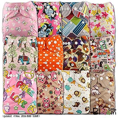 LittleBloom Panno Pannolini Lavabili Tasca Pannolino Riutilizzabile, Di Fissaggio: POPPER, Set Di 12