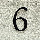 Colours-Manufaktur Hausnummer Nr. 6 - Schriftart: Klassisch - Höhe: 20-30 cm - viele Farben wählbar (RAL 9005 tiefschwarz (schwarz) glänzend, 20 cm)
