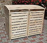 Promadino Mülltonnenbox Vario III Müllbox für 2 Mülltonnen Natur 324/11