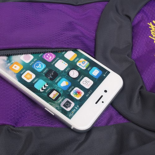 Hiking impermeabile zaino borsa zaino di sport all' aria aperta per arrampicata in montagna di pesca di campeggio di viaggio di sci Ciclismo con copertura di pioggia, porpora porpora