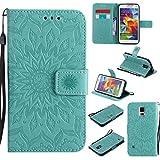 Guran Custodia in Pelle per Samsung Galaxy S5 (5.1 Pollici) Smartphone avere Carta Slot Supporto Protettiva Flip Case Cover-verde