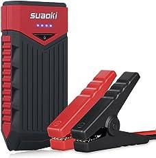 Suaoki T10 Auto Starthilfe 400A Spitzenstrom 12000mAh Tragbare Autobatterie Externer Akku Ladegerät mit Eingebaute LED Flashlight für Laptop Smartphone Tablet und vieles mehr (Schwarz/Rot)