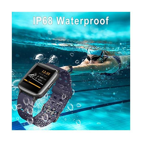 Smartwatch, 5ATM Impermeable Reloj Inteligente Hombre Mujer, Pulsera Actividad Inteligente Reloj Deportivo Reloj Fitness con Pantalla Táctil Completa Pulsómetro Cronómetros para iPhone iOS Android 4