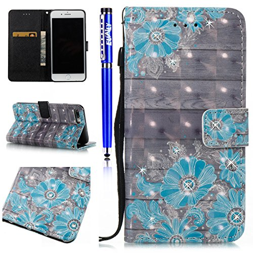 EUWLY Protettiva Portafoglio Custodia in Premium PU Pelle per iPhone 7 Plus/iPhone 8 Plus (5.5), 3D Dipinto Pattern Disegno PU Leather Wallet Custodia Bling Brillante Diamante Sparkling Strass Glitte Fiore Blu