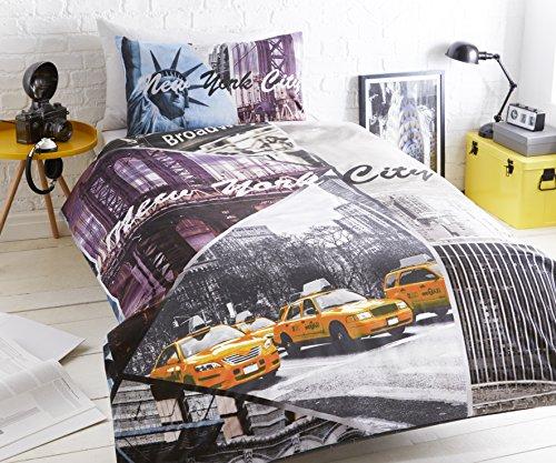 pieridae-new-york-city-scene-de-parure-de-lit-avec-housse-de-couette-4-pieces-complet-jaune-simple