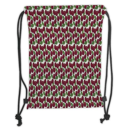 Fashion Printed Drawstring Backpacks Bags,Kitchen Decor,Cherry Pattern Ripe Fresh Fruit Image Floral Country Style Image Natural Gourmet,Maroon Green White Soft Satin,5 Liter Capacity,Adjustable S Gourmet Backpack Kitchen