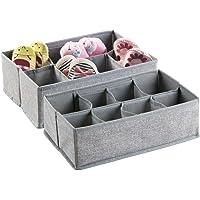 mDesign boîte de rangement pour armoire ou tiroir avec 8 compartiments (lot de 2) – boîte de rangement tissu pour la…