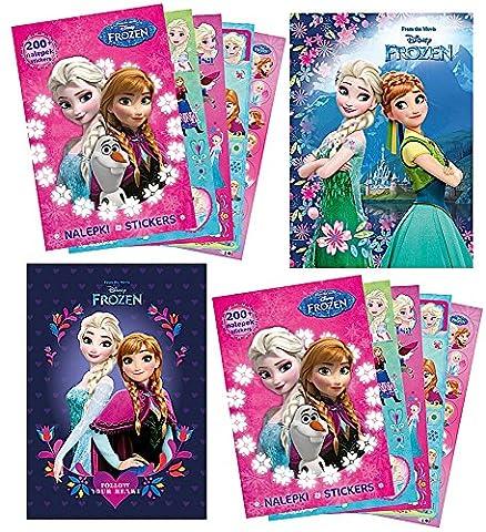 FROZEN / Die Eiskönigin - 2x Sammel-Album + 2x Sticker-Heft (mit 400 Stickern + 18 Ausmal-Seiten) - Anna + Elsa - Aufkleber zum sammeln und