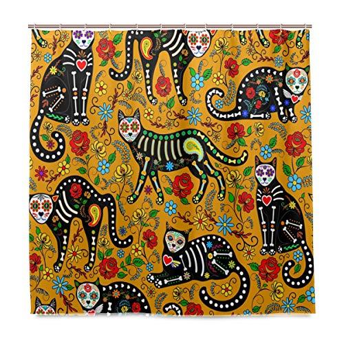 BIGJOKE Duschvorhang, Halloween, Totenkopf, Katze, Tribal, schimmelresistent, wasserdicht, Polyester, 12 Haken, 183 x 183 cm, Heimdekoration