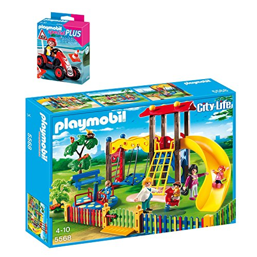 Preisvergleich Produktbild PLAYMOBIL® City Life 2er Set 5568 4759 Kinderspielplatz + Kids Racing-Kart