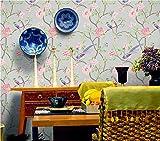 QXLML Tapete Elegante chinesische Retro Blume Vogel Tapete Wohnzimmer TV Hintergrund Wallpaper 10 * 0,53 (M) ( Color : Gris )