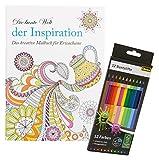 Idena 68149 - Malbuch für Erwachsene, Motiv Inspiration, inklusive 12 Buntstifte