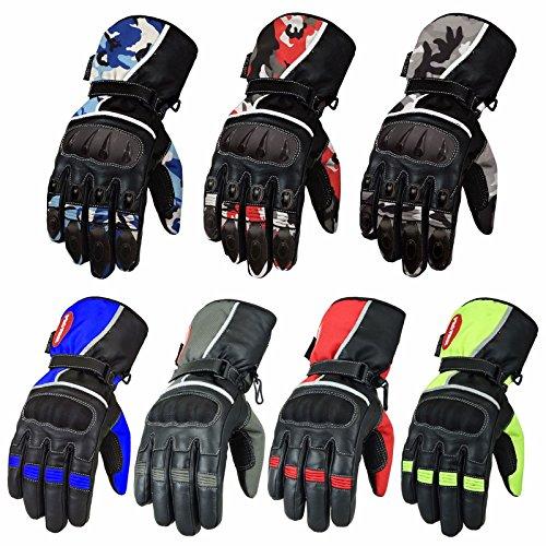 (Rot / Red) Hochleistungs-Breathable Wasserdichte Amara Silikon-Motorrad-Motorrad-Handschuhe Rindleder-Leder mit Shell Knöchelschutz & Schaumstoff-Futter - Größe = L