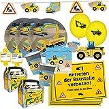 DH-Konzept 69-teiliges Party-Set - Baustelle - Teller Becher Servietten Platzsets Einladungen Girlande Trinkhalme Geschenkebox mit Bagger und Radlader für 6-8 Kinder