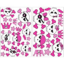 28 teiliges Set de calavera chica calaveras de pared adhesivo decorativo para pared 2x 16x26cm