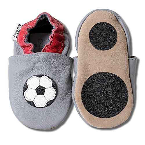 HOBEA-Germany Lauflernschuhe in grau - Fussball Soccer Fanartikel, Größe Schuhe:20/21 (12-18 Mon), Modell Schuhe:WM 2018 (Italienische Baby-schuhe)